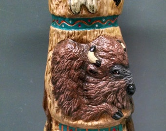 SALESkull Totem Pole--Native American Indian Figurine--Heirloom Quality--Hand-painted Ceramic--Home Decor--Native American Art