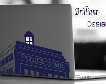Tardis Decal, Tardis Macbook Decal, Dr, Who Decal, Dr. Who Police Box, Tardis Macbook Decal Vinyl, Laptop Decal Macbook Stickers Decal Mac