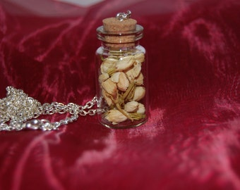 Glass cork bottle necklace with dried jasmine