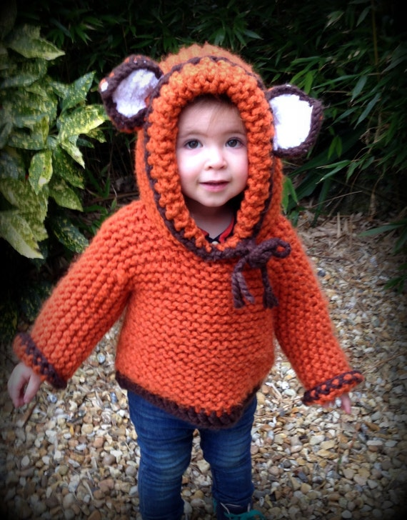 Knitting Pattern Fox Hoodie with Crochet Trim by ...