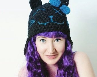 Crocheted scarred cat hat LINED with fleece CUSTOM, cat gothic geek kawaii, cute earflap hat vampire cat, pussy cat hat