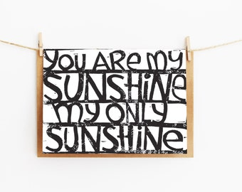 greeting card - you are my sunshine - gift card - 106x145xmm