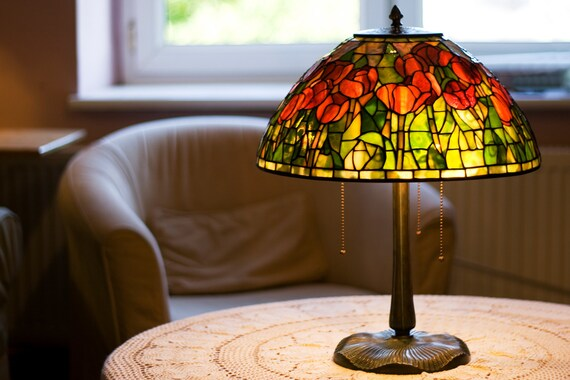 Table Lamp, Home Decor, Decorative Lights,  Tulip Lamp, Stained Glass Lamp, Lamp Shade, Desk Lamp, Stained Glass Table Lamp