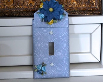 Blue Floral Light Switch Cover Plate Switchplate Extended Height Embellished with Flowers in Yellow and Shades of Blue