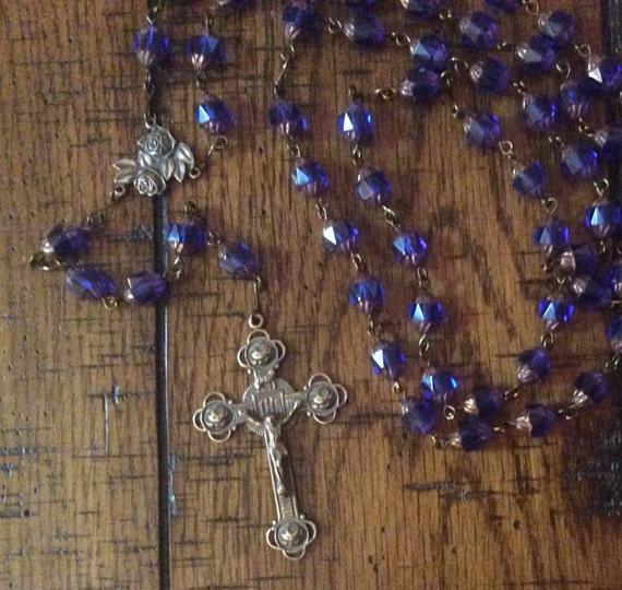 Hand Cast Bronze and Czech Glass Rosary