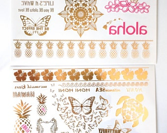 Hawaii Aloha from our BE Collection. Temporary Metallic tattoos, gold tattoos for beach, wedding, honeymoon, christmas