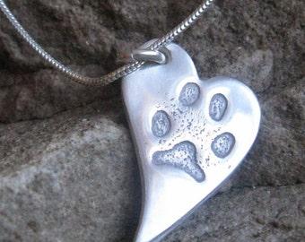 Personalised paw print pendant