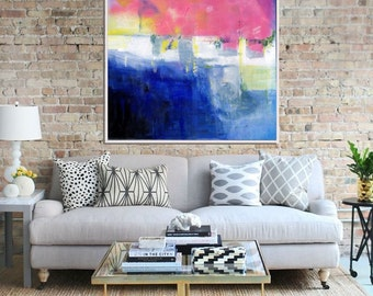 Abstract Painting , Art Print, Giclee Print , Abstract Art Print, Modern Art , Contemporary Art , Abstract Landscape, Blue Pink Yellow
