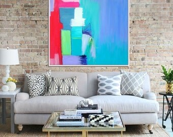 Abstract Art, Original painting, Abstract Canvas Painting, Modern Art, Contemporary Seascape, Blue Green Red Pink