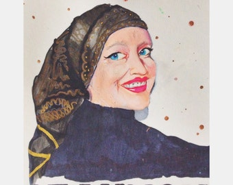 Watercolor Portrait of Little Edie Beale of Grey Gardens with Quote, Photo taken by Andy Warhol
