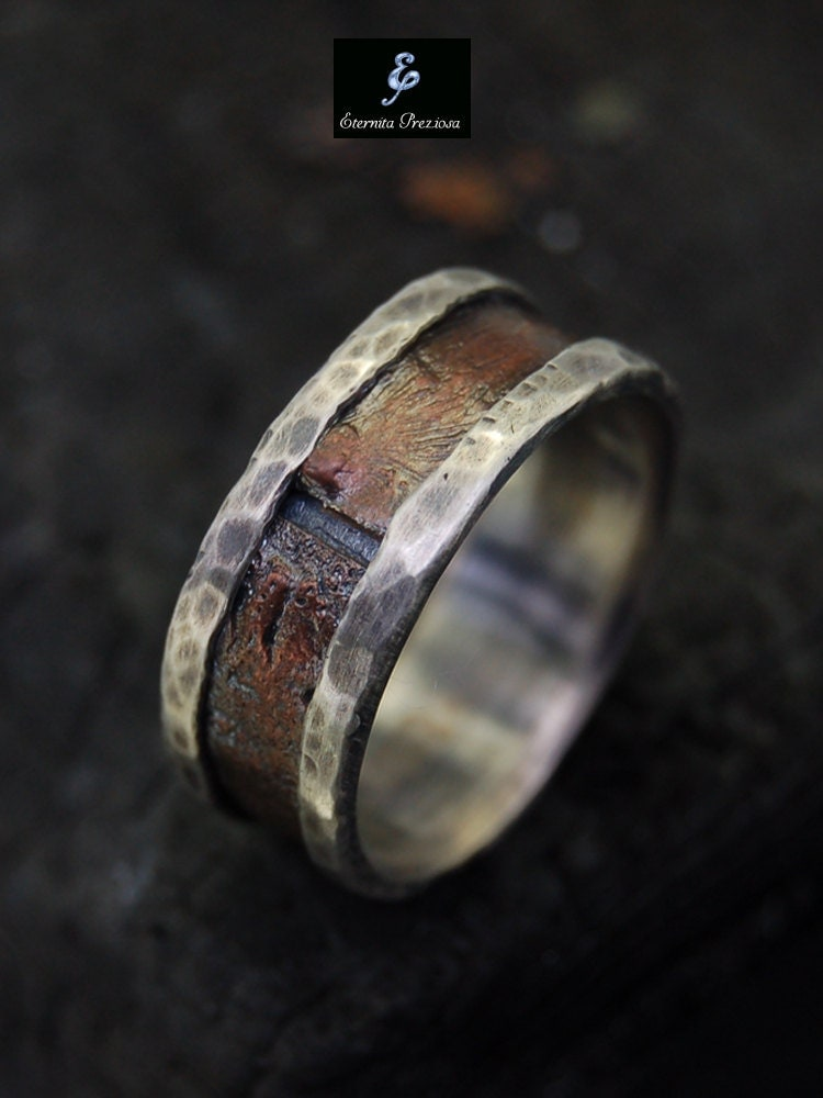 Rustic men ring silver copper ring men39s by eternitapreziosa for Mens copper wedding rings