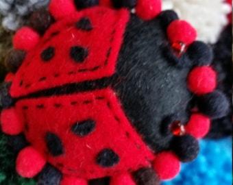 Handmade felt Ladybird brooch/pin/ felt Ladybug Brooch/pin with small pompom