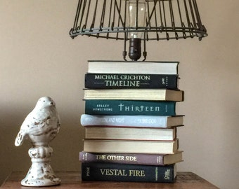 Book Table Lamp Industrial Chic /Upcycled Stacked Book Lamp/Industrial Lamp /Industrial Lighting/Industrial Decor/Book Lamp/Industrial Chic