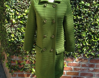 I Magnin Green Double Breasted Sweater Knit Coat With Flap Pockets Women's Size Small
