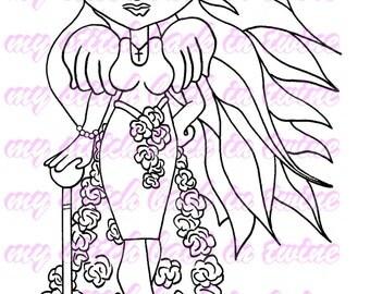 Digital stamp colouring image - Fashion Darcee . jpeg / png