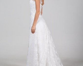 Boho Vintage Inspired A-Line Wedding Dress with Long Lace Train, Illusion Neckline, Lace Corset, Fully Lace, Open Back