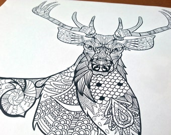 Adult Zentangle Coloring Sheet Deer