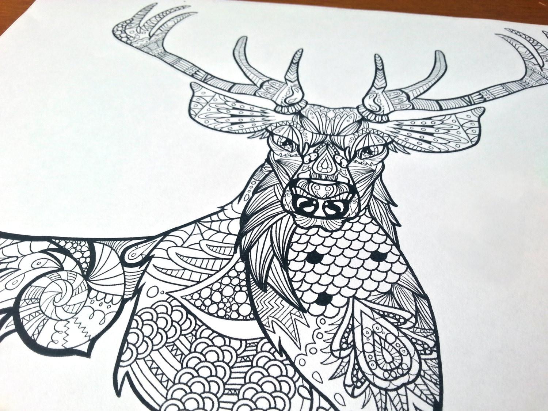 zentangle coloring sheet deer