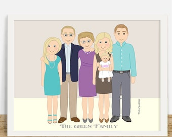 Bespoke Family Portrait, Custom Portrait, Family Cartoon Illustration, Personalized Gift From Photos, Original Gift For Mom, Home Decor