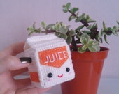 Amigurumi juice or milk carton, crochet plushie
