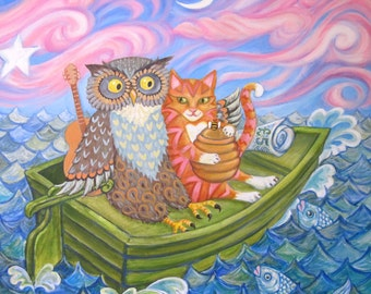 "Giclee Valentine Animal Print ""The Owl And The Pussycat"" from an original acrylic painting. by Laura Robertson"
