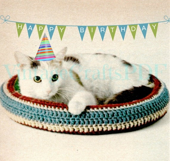 Crochet Patterns Pet Beds : Cat Bed Crochet Pattern Vintage 1970s Crochet Pattern Pet Bed Dog ...