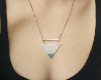 Triangle Necklace, Geometric Necklace, Silver Dipped, Minimalist Jewelry