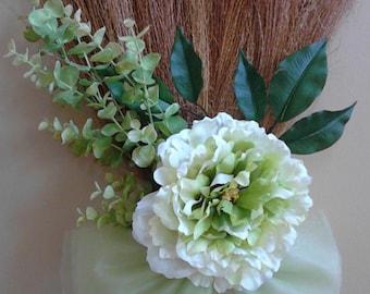 32 inch Sage / Green Wedding Broom, Jumping Broom