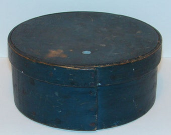 1800s New England Primitive Pantry Box Old Blue Milk Paint Early Nails Rustic Farmhouse