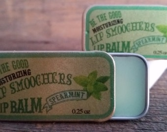 "Spearmint Lip Balm -- New Lip Balm Line!  All Natural ""LIP SMOOCHERS"" Lip Balm"