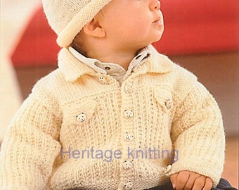 baby childrens jacket and hat dk knitting pattern 99p pdf