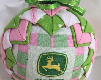 Quilted handmade ornament with John Deer fabric