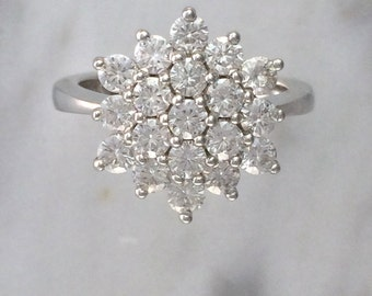 Women's Cluster Floral Ring in 14K White Gold w/ 0.95 ct. 2.5mm Moissanite Diamonds - Cocktail Ring - Floral Ring - Flower Ring