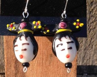 Lampwork glass Geisha earrings