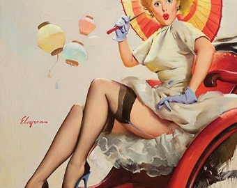 "Vintage Pinup Art Girl // Tourist Pin Up ""Asian Vacation"" by Gil Elvgren // 32""x40"" Digital Download // Easy to Size Down"