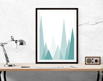 Mountain Print // Scandinavian print, Motivational Print, Inspirational Print, Turquoise, Scandi Design, Scandi, Wall Art, Scandinavian