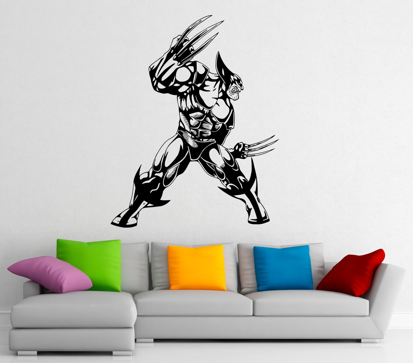 Superman Wall Murals Wolverine Hero Wall Decal Vinyl Stickers Comics Superhero
