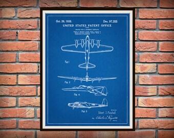 Patent 1935 Boeing B-17 Flying Fortress WWII Bomber - Airplane - Art Print - Poster - Wall Art - War Airplane -  War Memorabilia