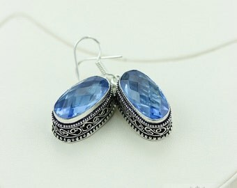 London Blue Topaz (Lab Simulated) Vintage Filigree Setting 925 SOLID Nickel Free Sterling Silver Dangle Earrings E489
