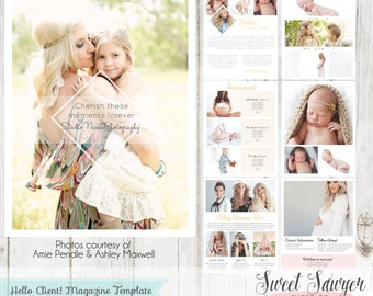 INSTANT DOWNLOAD - Welcome Magazine Template 10 pages. Includes photography price list template.