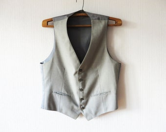 Mens Vest Gray Classic Wool Waistcoat Steampunk Gentlemen's Edwardian Victorian Back To School Mens Dress Up Clothes Size Large