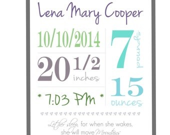 Custom Birth Announcement Nursery Print
