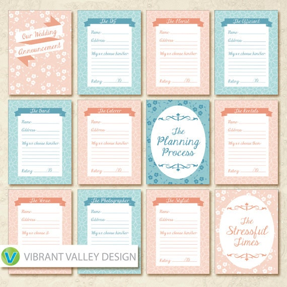Wedding Planning Journaling Cards Project Life By