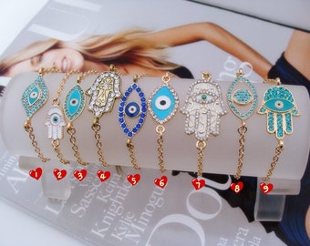 Elegant Evil Eye Bracelet, Hamsa Bracelet, Charm Bracelet, Chain Bracelet, Friendship Bracelet, Beadwork Bracelet. Inclusive White Gift Box!