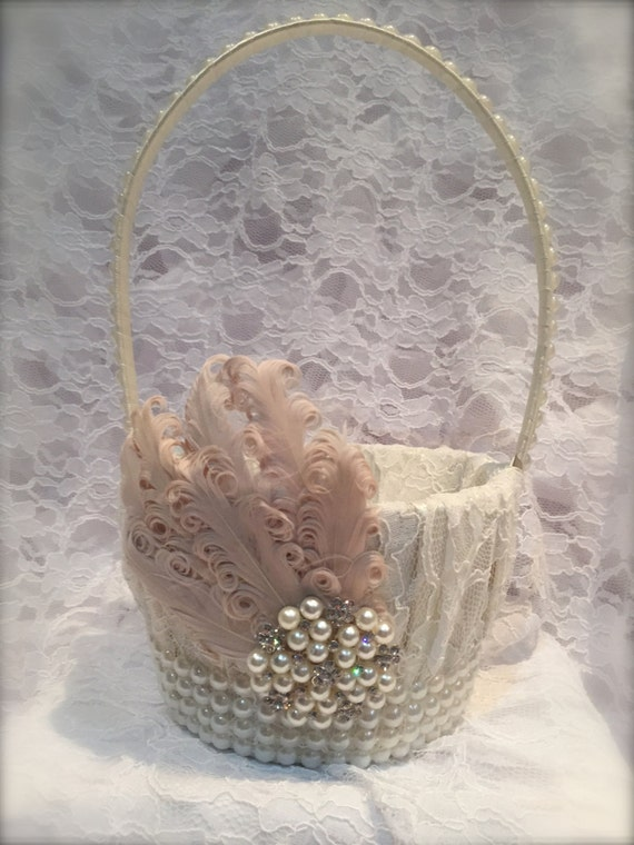 Flower Girl Baskets Canada : Items similar to flower girl basket blush and ivory