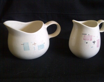 Vernon Ware ' Heavenly Days Blue ' Vernon Ware ' Tickled Pink '. Vernon Kilns Matched/Mis-Matched Pair.