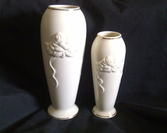 2 Lenox Fine China Collections Rose Blossom Vases. Creamy Ivory Color With Raised Rose And Ribbon. 24 Kt Gold Trim.