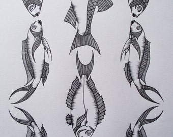 A3 Hand-drawn Fish Illustration