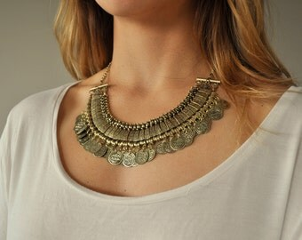 Turkish Bib Coin Statement Necklace - Bronze