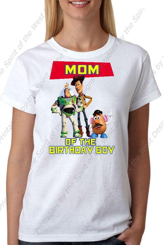 Mom Of The Birthday Boy Iron On Disney Toy Story Theme T Shirt